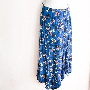 Zara Asymmetrical Floral Midi Skirt XS